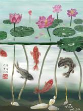 【荷•不染】Lotus is one of my favourites. Every part of the plant is useful. I had to use some imagination to create a world under water.